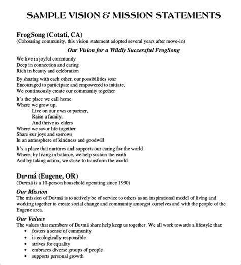 vision and mission statement exle business