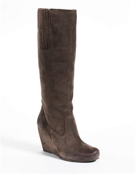 luxury rebel effie suede wedge boots in gray grey leather