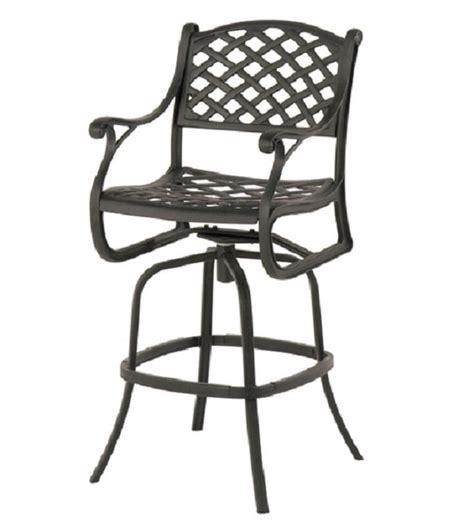 Bar Height Patio Set With Swivel Chairs Newport By Hanamint Luxury Cast Aluminum Patio Furniture Swivel Bar Height Chair