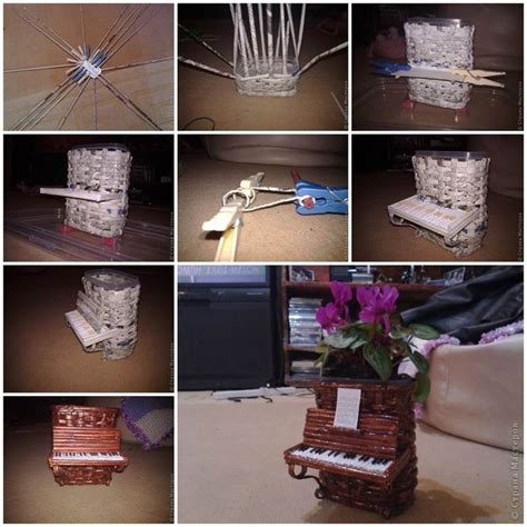 How To Make A Paper Flower Pot - diy woven paper piano flower pot cester 237 a con periodico