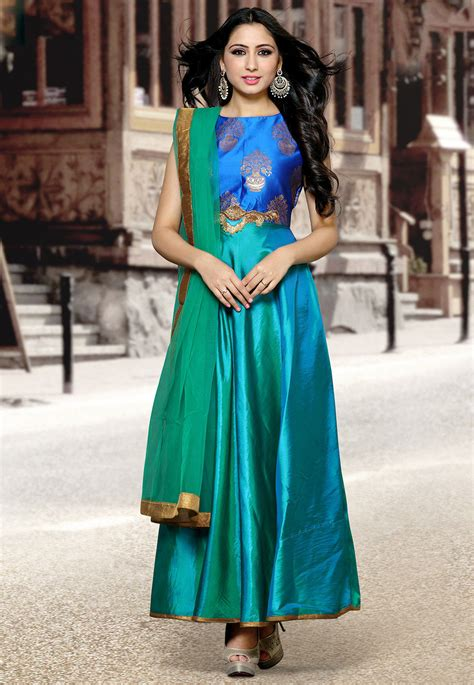 style green woven yoke silk abaya style suit in green and blue