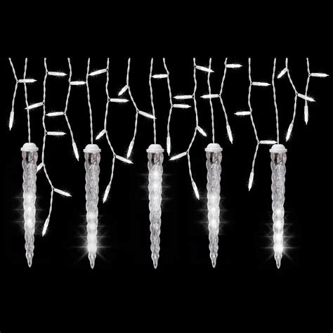 white icicle lights lightshow 5 light white icicle string light set with