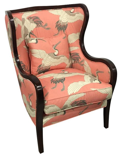 pink patterned chair pink crane patterned wing chair by leathercraft chairish