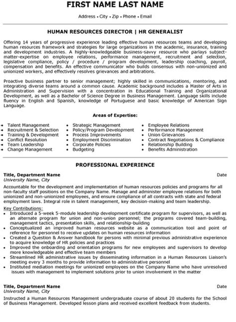 Human Resources Generalist Resume Sle human resources generalist resume sle 28 images human resources resume exles resume