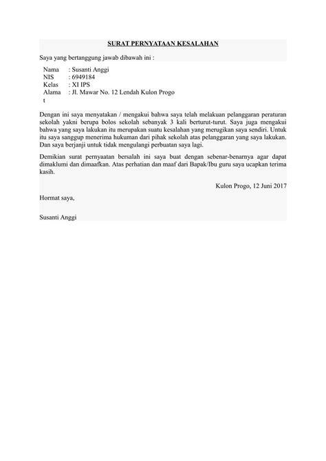 Contoh Surat Pernyataan Kerja by Contoh Surat Pernyataan Kesalahan Telah Melanggar