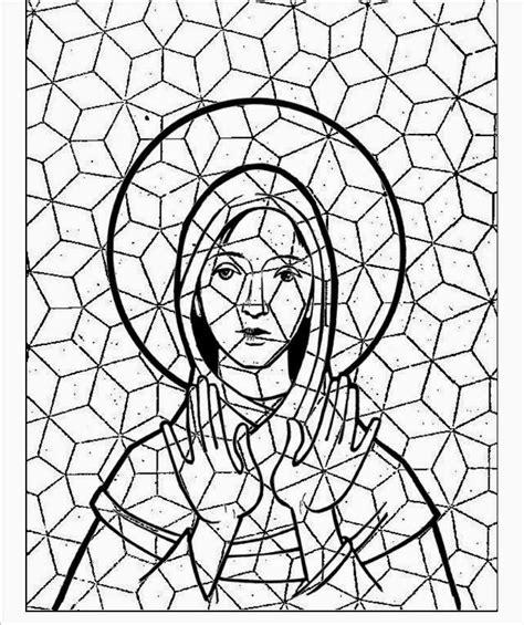 dibujo de vidriera de la virgen mar繝箝a con jes繝篌s para oraciones infantiles mosaicos y vidrieras para colorear