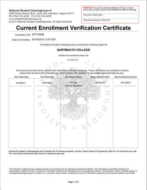 Verification Letter Of Graduation enrollment verification thayer school of engineering at