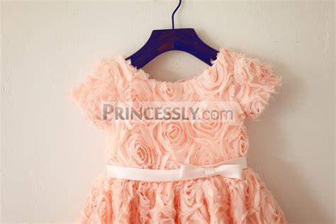 Dress Anak Pink Flower Belt Import sleeves dusty pink rosette flower dress