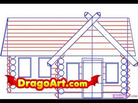 how to draw a log cabin step by step