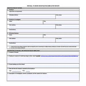 employee investigation form template sle investigation report template 13 free documents
