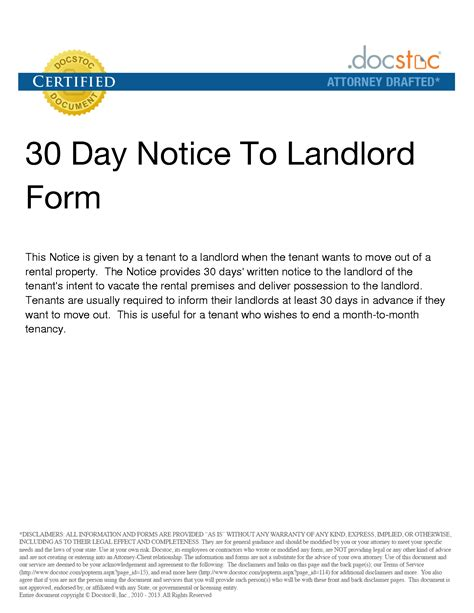 30 day notice to vacate landlord to tenant template 10 best images of 30 day notice template 30 day notice