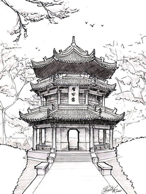 chinese temple tattoo designs pagoda drawing pagoda by asuka47 on deviantart