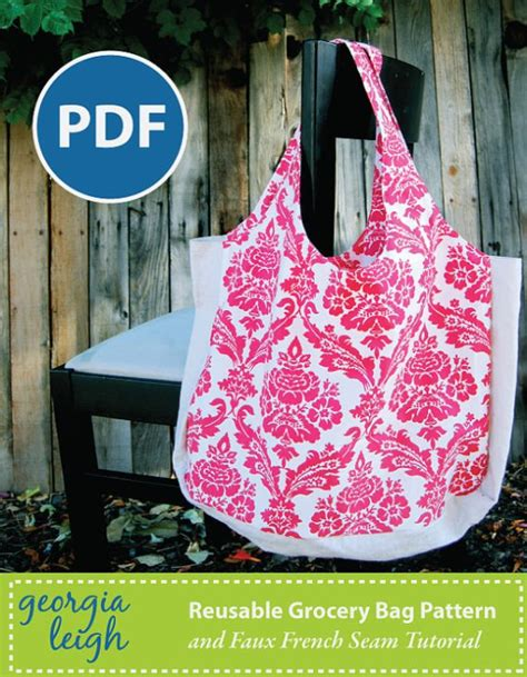pattern for fabric grocery bags reusable grocery bag pdf sewing pattern with bonus sewing