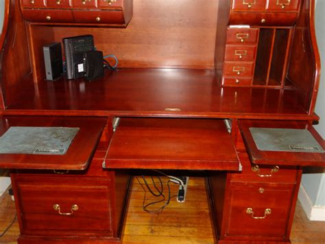 solid wood roll out desk solid cherry wood roll top computer desk 500 00 obo