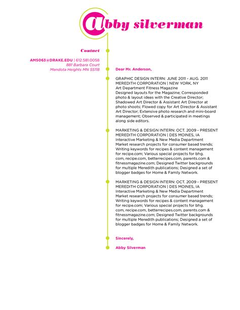 resume and cover letter development 191 graphic design capstone