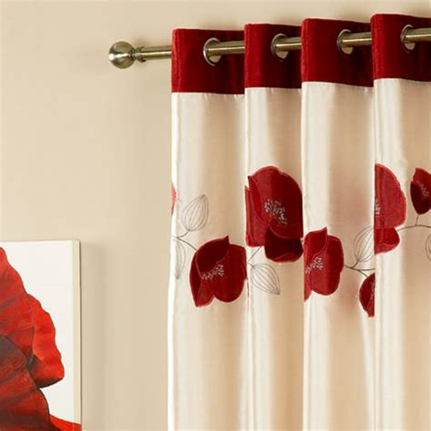 curtains with red in them curtina danielle floral applique faux silk eyelet lined