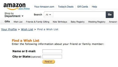 amazon wish list find someone s amazon wish list by his or her e mail