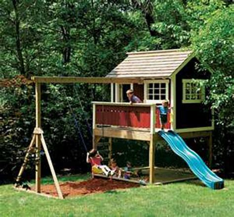 playhouses with slide and swings kids outdoor wooden playhouse swing set detailed plan