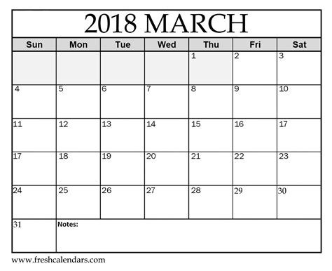 Printable March 2018 Calendar Fresh Calendars Writable Calendar Template