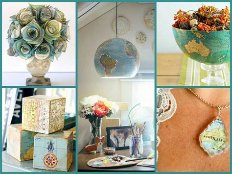 Recycled Home Decor Projects by Best Diy Recycled Map Crafts Diy Globe Decor Ideas Recycled Home Decor