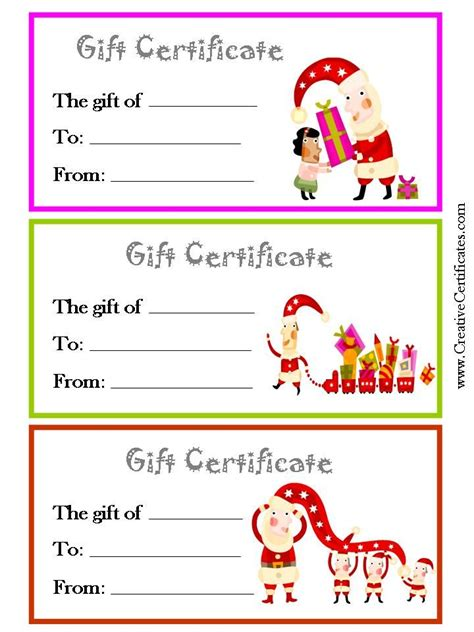printable christmas gift certificate templates   page     color