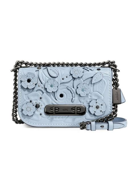 Coach Swagger Black Flower coach coach swagger flower leather crossbody bag handbags shop it to me