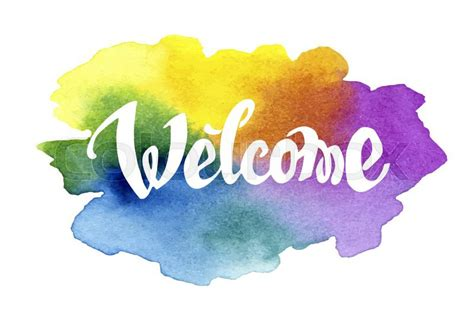 Best Blue Paint by Welcome Hand Drawn Lettering Against Watercolor Background