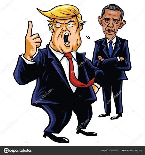 imagenes comicas de obama donald trump y barack obama ilustraci 243 n de vector de