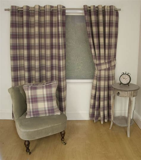 brown check curtains jacquard tartan check brown lined ring top curtains drapes