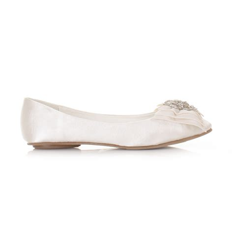 flat bridal shoes ivory womens flat ivory satin wedding shoes