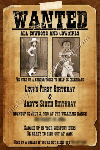 Printable Wanted Poster Wanted Poster Invitations For A Shared Party Baby Shower Ideas Wanted Birthday Invitation Template