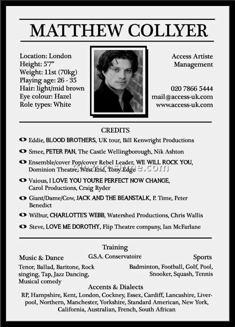 actors resume template for beginners actors resume for beginners resume template cover letter