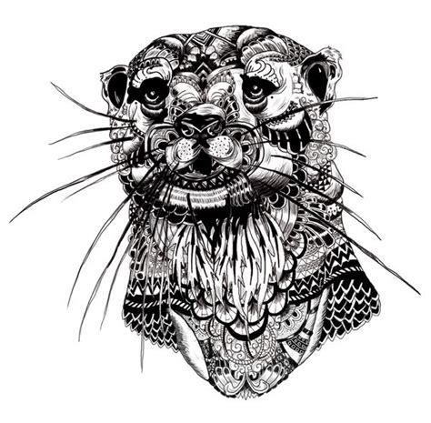 Sticker Tatto Bibir No 1 otter spirit animal mandalas zentangles rangoli