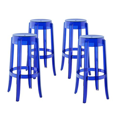 Bar Stool Foot Rings by Set Of 4 Casper Modern Acrylic Bar Stool With Foot Ring Blue
