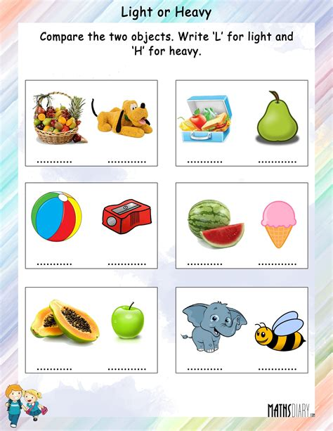 comparison between light and heavy math worksheets