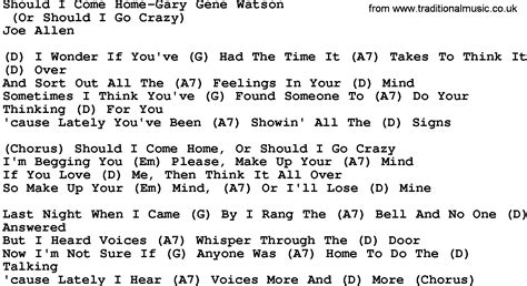 Home Songs by Country Should I Come Home Gary Gene Watson Lyrics
