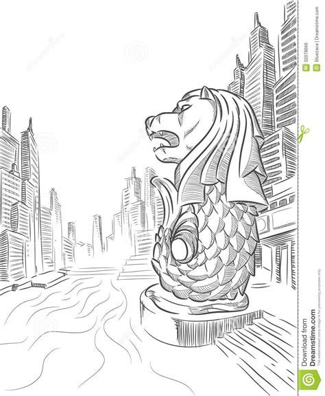 Creative Adults And Coloring Books Budsies Blog Sketch Of Singapore Tourism Landmark Merlion Royalty