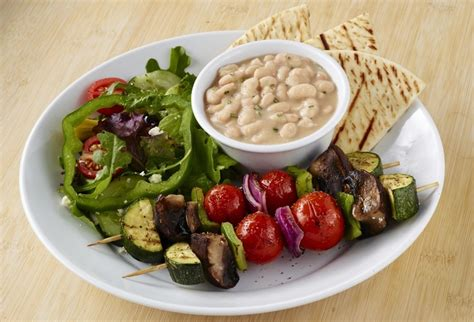 veggie kabob plate from zoes kitchen live zoes