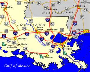 Map Of Southern Louisiana by New Orleans Southeastroads