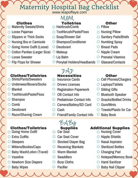 c section packing list best 25 hospital bag checklist ideas on pinterest