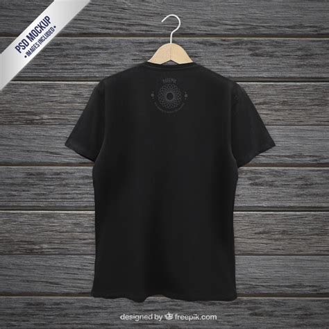 black t shirt back mockup psd file free