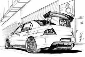 Mitsubishi Evo Jdm Drawing Sketch Coloring Page sketch template