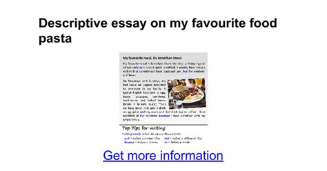 Essay My Favorite Food by Descriptive Food Essay Thesis Loyalty Exles Of College Research Paper Format Skills