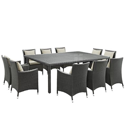 11 piece patio table sojourn 11 piece outdoor patio sunbrella 174 dining set