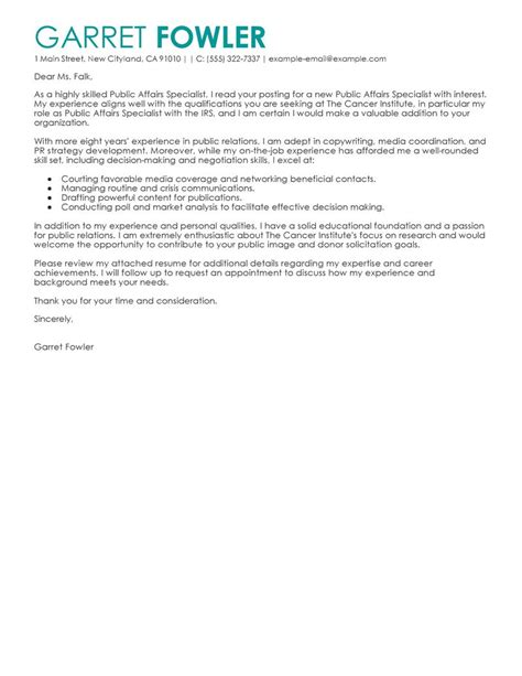 Example Of Resume Letter For Application by Best Public Affairs Specialist Cover Letter Examples