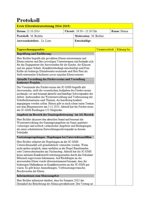 Protokoll Schreiben Muster Schule Protokoll Der Elternbeiratssitzung 07 11 2014 Joseph Christian Gemeinschaftsschule