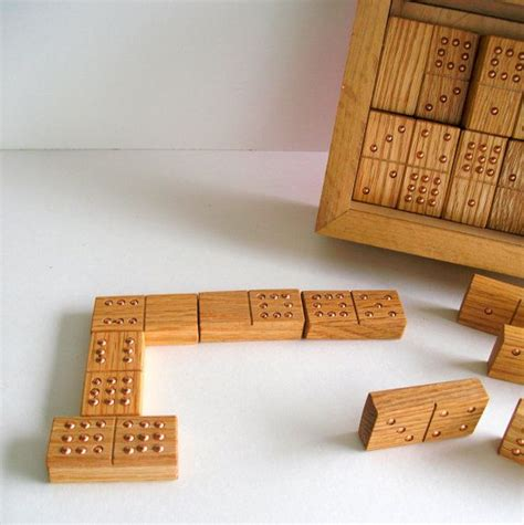 Handmade Dominos - handmade dominoes of white oak wood 9 in oak box