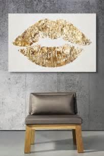 gold glitter lips canvas art cute   bathroom