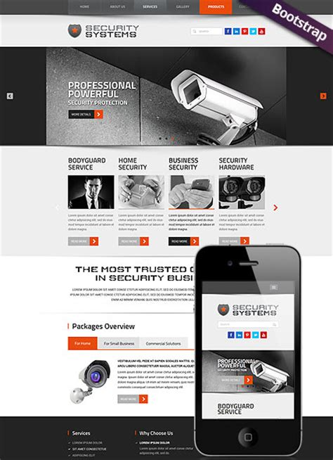 bootstrap themes detector security service bootstrap template id 300111797 from