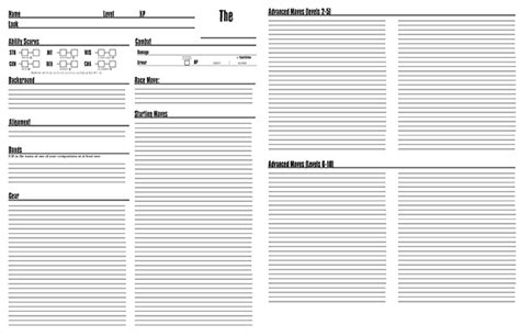 a dungeon world character sheet that you can use points